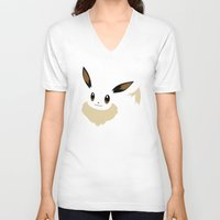 eevee V-neck T-shirts featuring Eevee PKMN by Rebekhaart