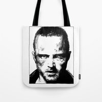 jesse pinkman Tote Bags featuring Breaking Bad - Jesse Pinkman by Aaron Campbell