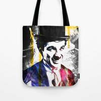 charlie chaplin Tote Bags featuring charlie chaplin by manish mansinh
