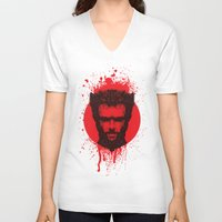 xmen V-neck T-shirts featuring Logan by Fimbis