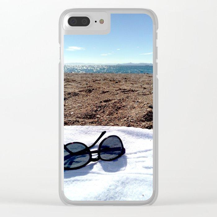 see, sun glasses, calm , beach , summer Clear iPhone Case