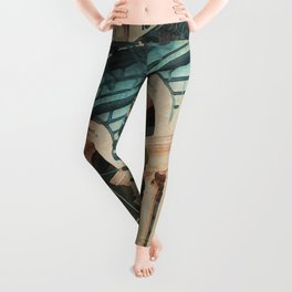 The Escape - Kitschy Vintage Watercolor New York City Manhattan Leggings