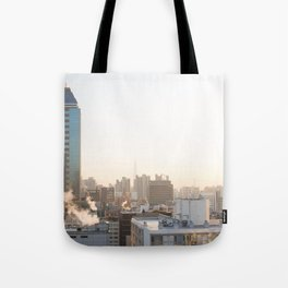 Peaceful Coffee Drinking Morning in Urban City Tote Bag