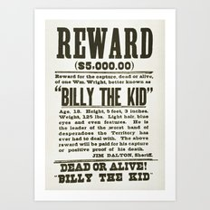 Wanted poster for Billy the Kid Art Print