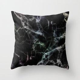 Luxurious Black Marble With Smoky Veins Throw Pillow