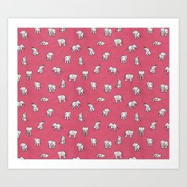 Indian Baby Elephants in Pink Art Print