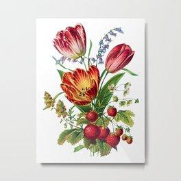 Tulips and Strawberries, Antique Heirloom Flower Bouquet Original Aquatint Watercolor PNG 6 Metal Print