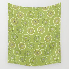Lime Oranges Pattern Wall Tapestry