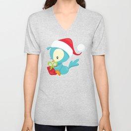 Christmas Bird, Blue Bird, Bird With Present Unisex V-Neck