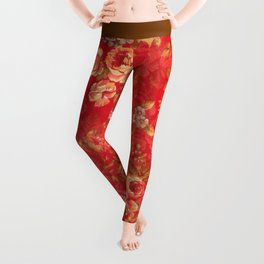 Country chic bright red pink vintage white floral Leggings