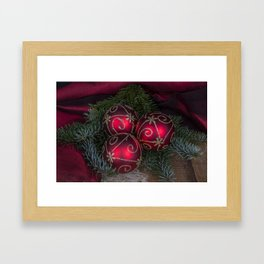 Red Christmas Balls Framed Art Print