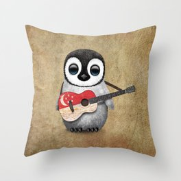 Baby Penguin Playing Singapore Flag Guitar Throw Pillow