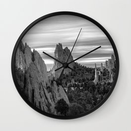 Garden of the Gods - Colorado Springs Landscape in Black and White Wall Clock