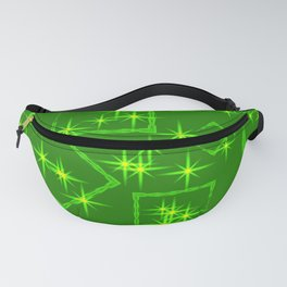 Lime diamonds and squares at the intersection with the stars on a green background. Fanny Pack