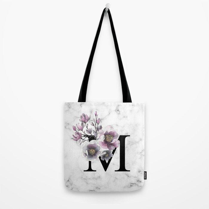 Letter 'M' Magnolia Flower Typography Tote Bag
