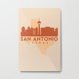 SAN ANTONIO TEXAS CITY MAP SKYLINE EARTH TONES Metal Print