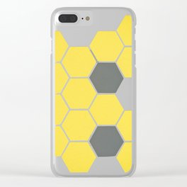 Yellow Honeycomb Clear iPhone Case