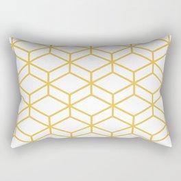 Geometric Honeycomb Lattice in Mustard Yellow and White. Modern Clean Minimalist Rectangular Pillow