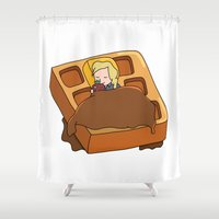 leslie knope Shower Curtains featuring Leslie Knope + Giant Waffle by Faellen