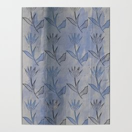 tulips on blue antique paper Poster