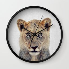 Lioness II - Colorful Wall Clock