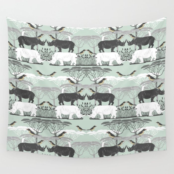Rhino and friends do Lunch Wall Tapestry