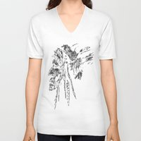 native american V-neck T-shirts featuring Native American by Sandy Elizabeth
