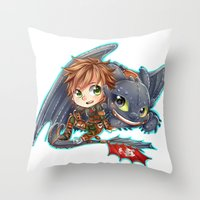 hiccup Throw Pillows featuring Httyd 2 - Chibi Hiccup and Toothless by ibahibut