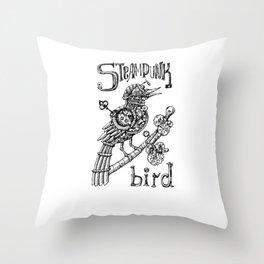 Steampunk Bird Drawing T-Shirt w/Wind Up Key Throw Pillow