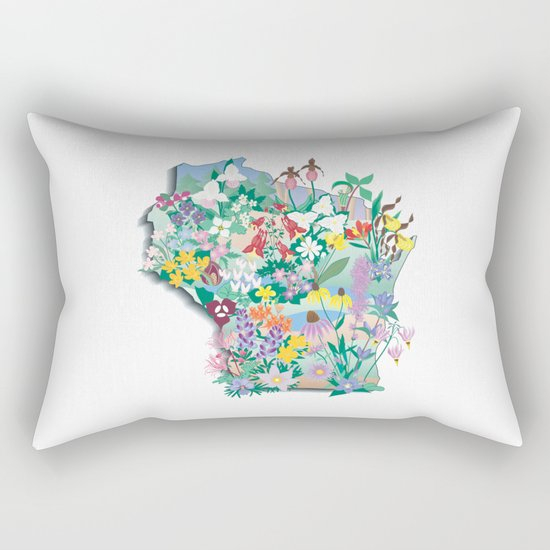 Wisconsin Wildflowers Rectangular Pillow