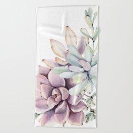 Desert Succulents on White Beach Towel
