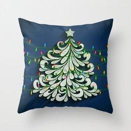 Christmas tree with colorful lights Throw Pillow