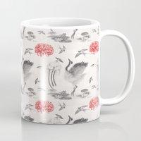 swallow Mugs featuring Crane, Swallow, Frog by Deborah Panesar Illustration