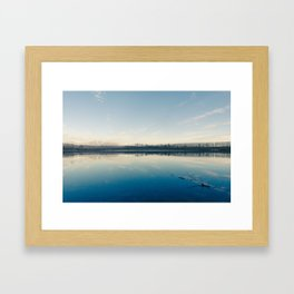 A blue  winter lake Framed Art Print