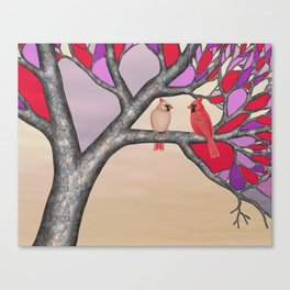 northern cardinals in the stained glass tree Canvas Print