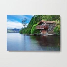 Smooth as Glass Lake and Boathouse Metal Print
