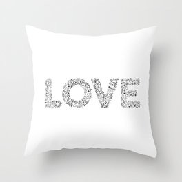 Floral Letters Love Throw Pillow