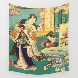 Spring Outing In A Villa Diptych #1 by Toyohara Kunichika Wall Tapestry