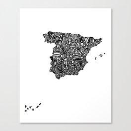 Typographic Spain map art print Canvas Print