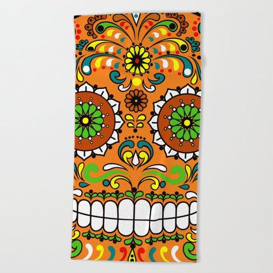 Sugar Skull #8 Beach Towel