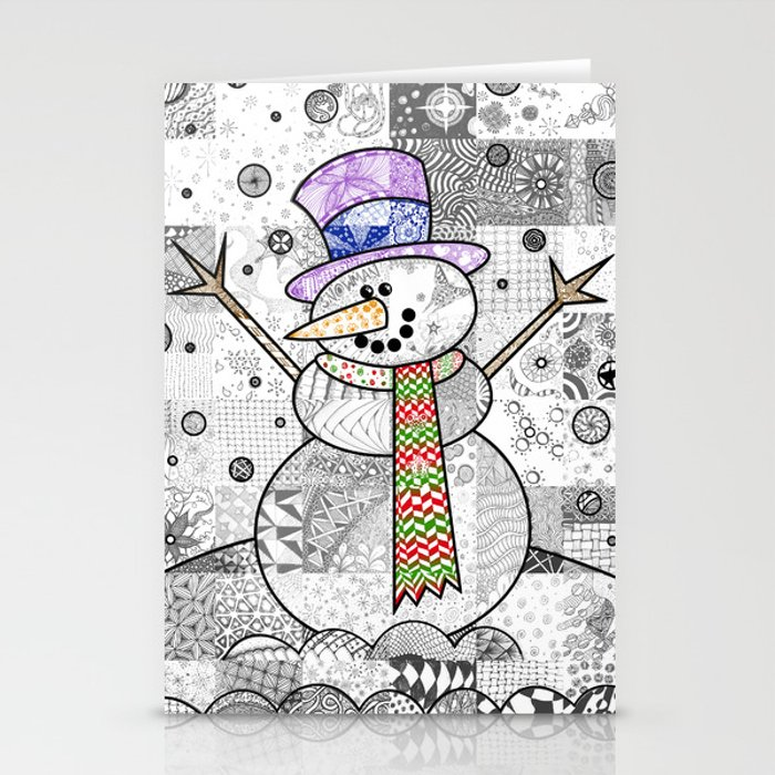 Coloured Snowman Stationery Cards