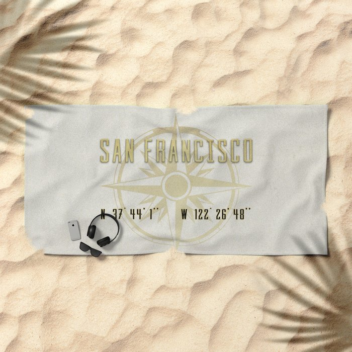 San Francisco - Vintage Map and Location Beach Towel