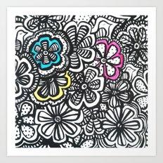 Doodle Birds and Flowers Art Print
