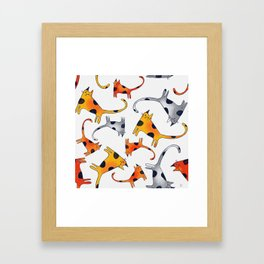 Crazy Cats Pattern Orange Red and Gray Framed Art Print