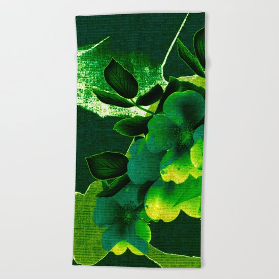 green floral Beach Towel