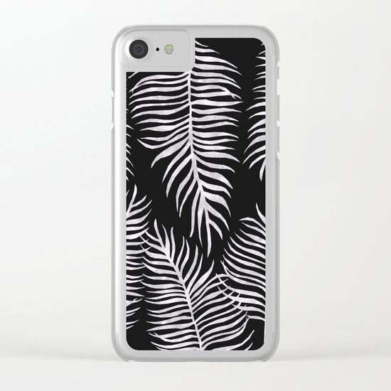 Fern Pattern Black And White Clear iPhone Case