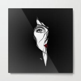 Rostro mujer arte medio rostro pelo negro piel blanca labios rojos. joik Metal Print