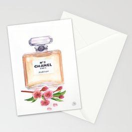 Watercolor Perfume Bottle With Cherry Blossoms Print Stationery Cards