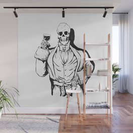 Vampire skeleton holding blood cup -  black and white Wall Mural