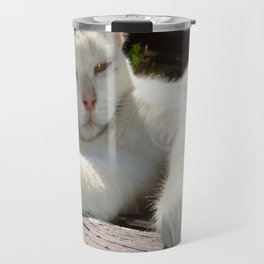 Black and White Bicolor Cat Lounging on A Park Bench Travel Mug